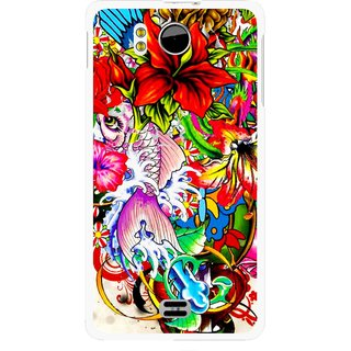 Snooky Printed Horny Flowers Mobile Back Cover For Micromax Canvas DOODLE A111 - Multicolour