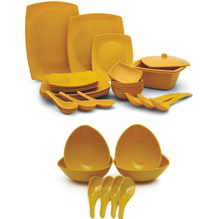 Czar Combo of New Square Dinner Set 32 PIC With 4 soup Bowl Set-Yellow