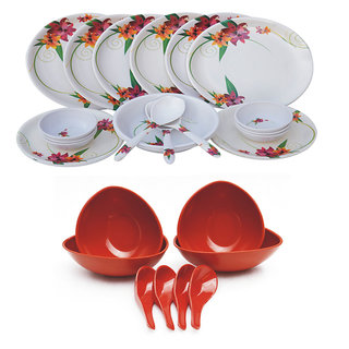Czar 24 PIC Dinner set-1011 WITH 4 soup bowl Set-RED