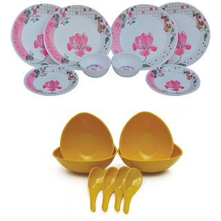 Czar Melamine 12 Pcs Dinner Set with 4 soup bowl Set -yellow