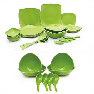 Czar Combo of New Square Dinner Set 32 PIC With 4 soup Bowl Set-Green