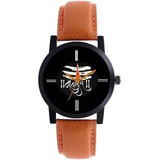 5c14192130b new black dial brown leather strap mahadev watch for boys men 6 month  warranty