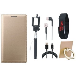 Redmi Note 3 Leather Flip Cover with with Ring Stand Holder, Selfie Stick, Digtal Watch, Earphones and USB Cable