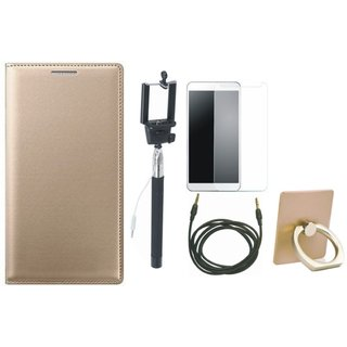 Redmi Note 3 Leather Flip Cover with with Ring Stand Holder, Free Selfie Stick, Tempered Glass and AUX Cable