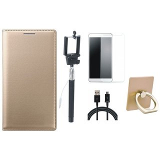 Redmi Note 3 Leather Flip Cover with with Ring Stand Holder, Free Selfie Stick, Tempered Glass and USB Cable