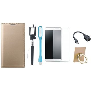 Redmi Note 3 Leather Flip Cover with with Ring Stand Holder, Free Selfie Stick, Tempered Glass, LED Light and OTG Cable