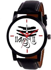 new white dial black leather strap mahadev watch foe boys  men 6 month warranty
