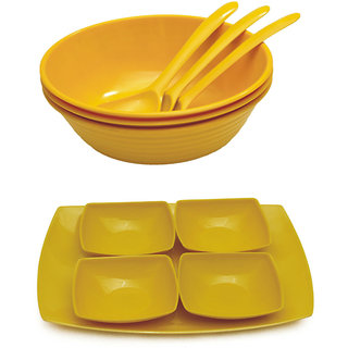 Czar New 3 pc Donga set 4 soup bowl with Tray-Yellow