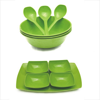Czar New 3 pc Donga set 4 soup bowl with Tray-Green