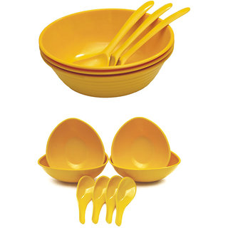 Czar New 3 pc Donga set with 4 soup bowl -YELLOW