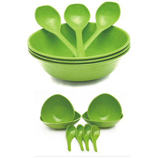 Czar New 3 pc Donga set with 4 soup bowl -Green