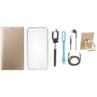 Redmi Note 3 Leather Flip Cover with with Ring Stand Holder, Silicon Back Cover, Selfie Stick, Earphones, USB LED Light and AUX Cable