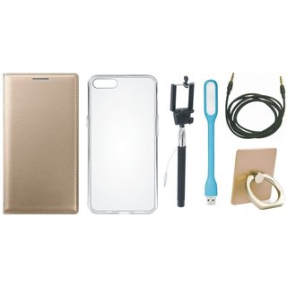 Redmi Note 3 Luxury Cover with Ring Stand Holder, Silicon Back Cover, Selfie Stick, USB LED Light and AUX Cable