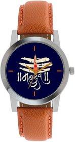 new black dial brown strap mahadev watch for boy  men 6 month warranty
