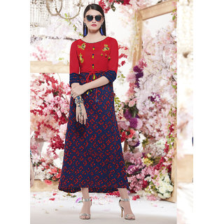 Swaron Navy Blue and Red Colored Rayon Embroidery,Printed Stitched Long Straight Kurti