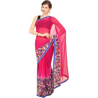 Sofi Women's Solid Pink Georgette Sari