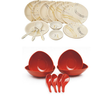 Deemark 24 PIC Dinner set-1001 WITH 4 soup bowl Set-RED