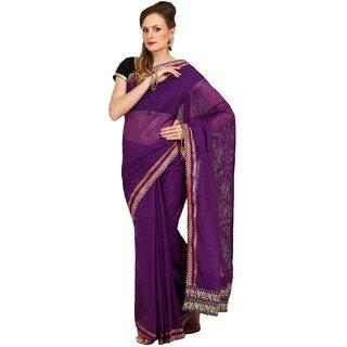 Sofi Women's Self weaved Purple Net Sari