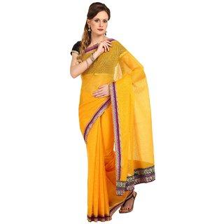 Sofi Women's Self weaved Yellow Net Sari