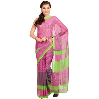 Sofi Women's Self Print Pink Chiffon Sari