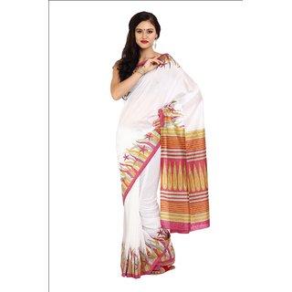 Sofi Women's Printed White Silk Sari