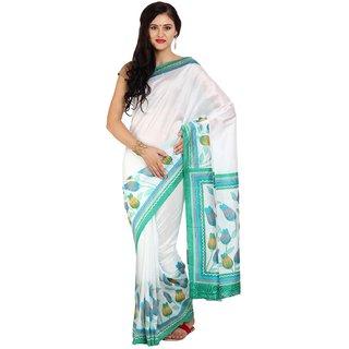 Sofi Women's Printed White Synthetic art silk Sari