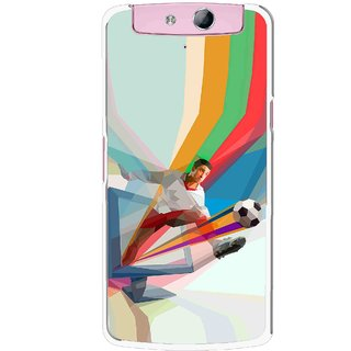 Snooky Printed Kick FootBall Mobile Back Cover For Oppo N1 - Multicolour