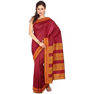 Sofi Women's Solid Maroon Art Silk Sari