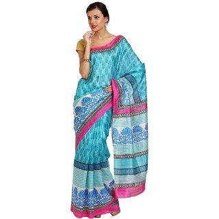 Sofi Women's Printed Green Art Silk Sari