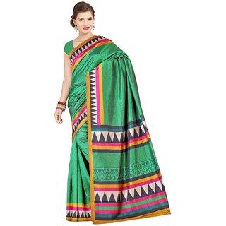 Sofi Women's Solid Green Polyester Sari