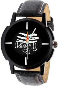 NEW BLACK DIAL BLACK LEATHER STRAP MAHADEV WATCH FOR BOYS  MEN 6 MONTH WARRANTY