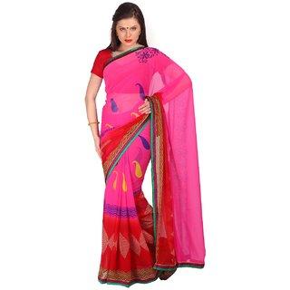 Sofi Women's Pink Georgette Sari