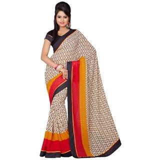 Sofi Women's Solid Beige Georgette Sari