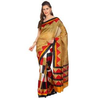 Sofi Women's Printed Beige Bhagalpuri Silk Sari