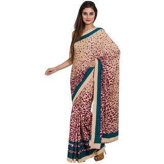 Sofi Women's Printed Beige Crepe Sari
