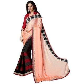 Sofi Women's Orange Chiffon Sari