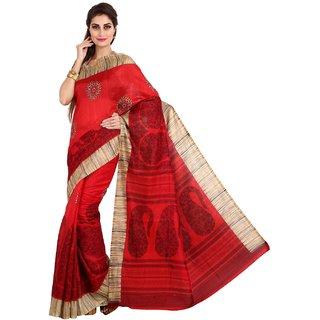 Sofi Women's Printed Red Synthetic Bhagalpuri silk Sari