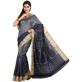 Sofi Women's Printed Grey Synthetic Bhagalpuri silk Sari