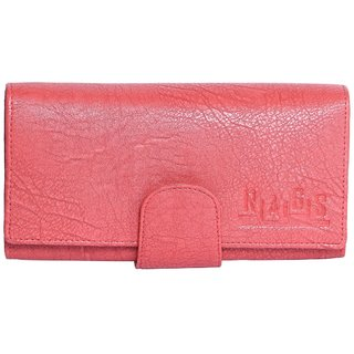 Rags Style Pink Leather Clutch For Women
