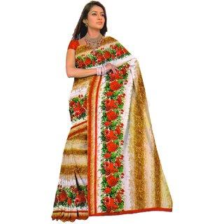 Sofi Women's Printed Beige Georgette Sari