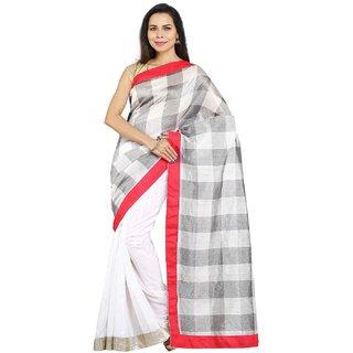 Sofi Women's Solid White Bhagalpuri Silk Sari