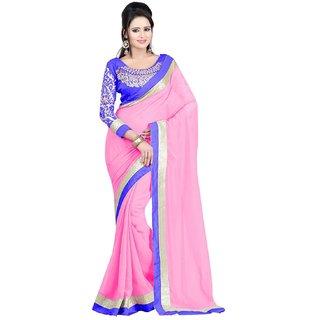 Sofi Women's Embriodered Pink Georgette Sari