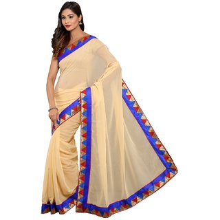 Sofi Women's Checkered Beige Georgette Sari