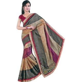 Sofi Women's Solid Beige Kota checks Sari