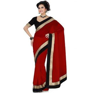 Sofi Women's Solid Brown Georgette Sari