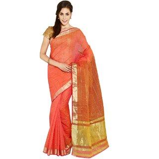 Sofi Women's Checkered Red Mysore Art silk Sari