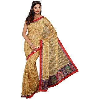 Sofi Women's Solid Beige Kotta checks Sari