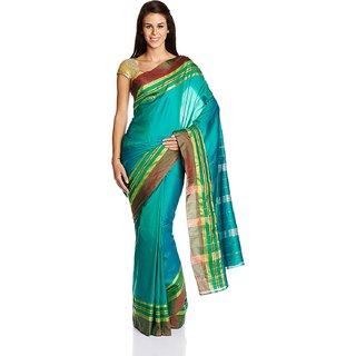 Sofi Women's Solid Green Mysore Art silk Sari
