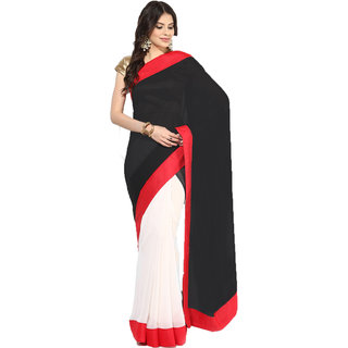 Sofi Women's Solid Black Georgette Sari
