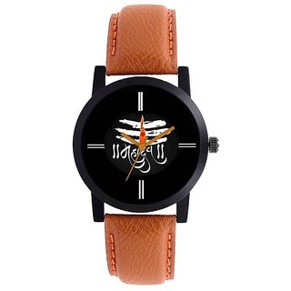 NEW BROWN STRAP WHITE DIAL MAHADEV TYPE ANLOGE  WATCH FOR BOYS